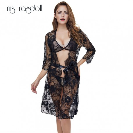 New Fashion Women Sexy Lace Sleepwear Lady See Through Babydoll Intimates Hot Robes Chemise De Nuit Mini Slim Nightgowns
